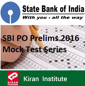 SBI PO Prelims 2016 Mock Test Series