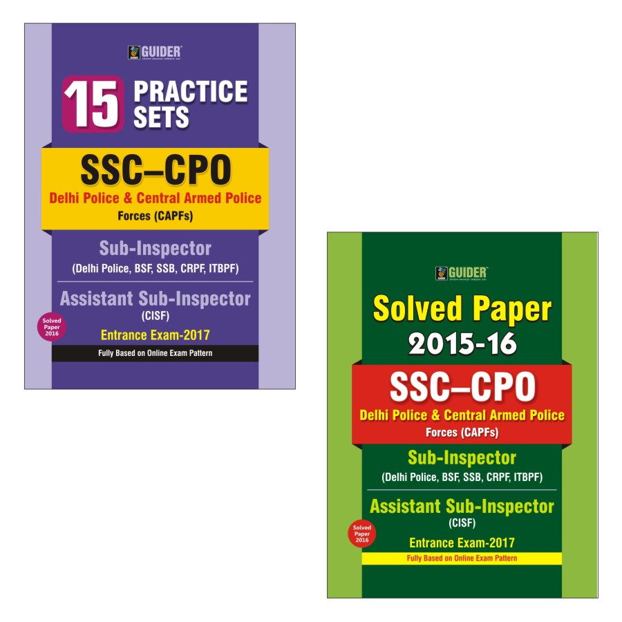 Combo of SSC CPO Delhi Police  and Central Armed Police Force SI- ASI 15 Practice Sets  and Solved Paper